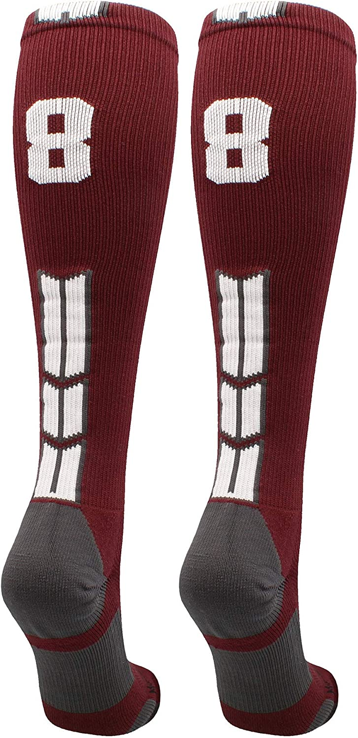 MadSportsStuff excellence Maroon Player ID Custom Sock Beauty products Calf The Number Over