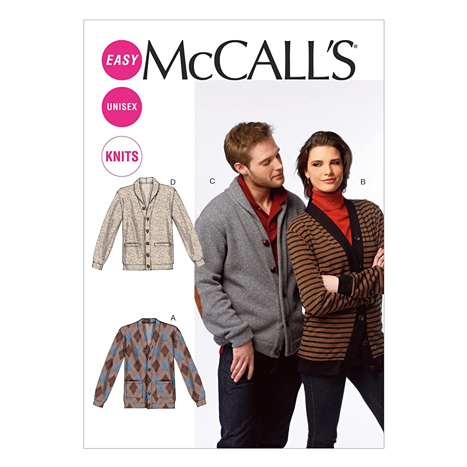 McCall Pattern Company M6803 Misses'/Men's Cardigans Sewing Template, Size XN (XLG-XXL-XXXL)