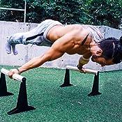 PULLUP & DIP Paralelas de Madera, Fitness Parallettes Bajas o Medianas con Mango Ergonómico, Barras Paralelas para Calistenia y Crossfit, Interiores y ...
