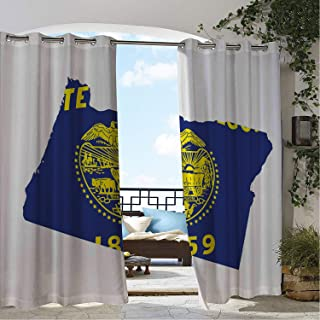 Linhomedecor Patio Waterproof Curtain Oregon Map and Waving Flag of US State Beaver State Heart Shape Shield The Union Cobalt Mustard White doorways Grommets Parties Curtains 72 by 96 inch