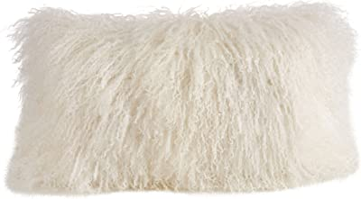 "SARO LIFESTYLE 100% Wool Mongolian Lamb Fur Throw Pillow with Poly Filling, 12"" x 20"", Ivory"