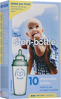 Steribottle Ready to Use Disposable Baby Bottles, 10-Count by Steri-Bottle