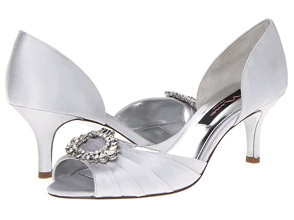Nina Crystah (Silver Satin) High Heels
