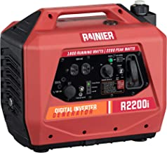 Rainier R2200i Super Quiet Portable Power Station Outdoor Inverter Generator - 1800 Running & 2200 Peak - Gas Powered - CARB Compliant