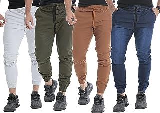 Kit 04 Calças Jogger Jeans Sarja Masculinas C/Punhos