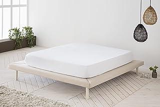 Drap housse ajustable blanc 100 % coton, lit de 180 cm (180 x 190/200 cm)