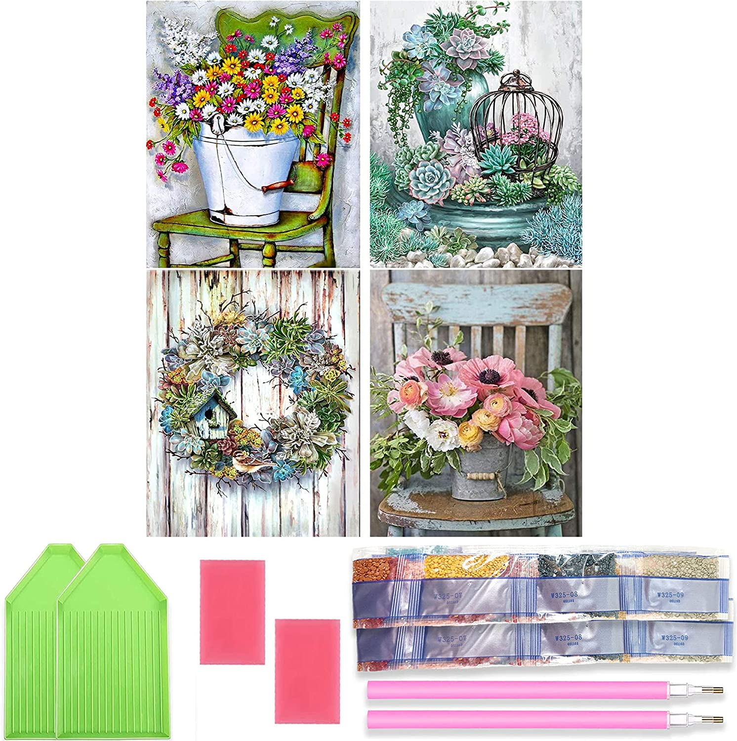 Ranking TOP19 Ginfonr 4 Pack 5D Diamond Painting Number Kits Max 63% OFF D Flower by Full