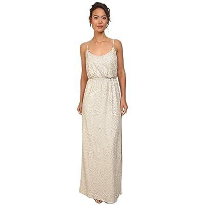 Jessica Simpson Sequin Blouson Dress w/ Leg Slit (Taupe) Women
