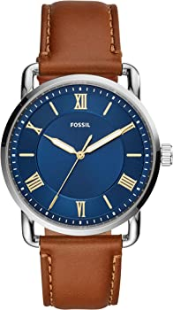 Fossil Men's Copeland 42mm Stainless Steel Quartz Watch with Leather Strap
