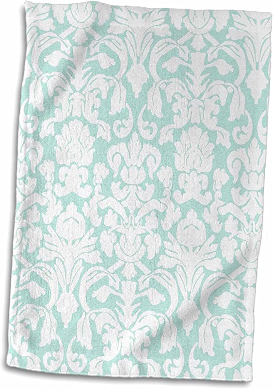3D Rose Mint White Damask Fancy Pastel Blue Green Light Aqua Teal Turquoise French Floral Towel 15 X 22 Multicolor