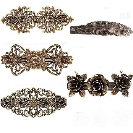 5 pezzi fermagli per capelli francesi vintage, fermagli per capelli rosa, fermagli per capelli in bronzo metallico, accessori per donna, per donna regalo di San Valentino per ragazze (bronzo)