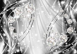DekoShop AMD10406_VE - Papel pintado, diseño abstracto con diamantes, Fieltro, Negro y blanco, plateado., VEXXL (312cm. x 219cm.)