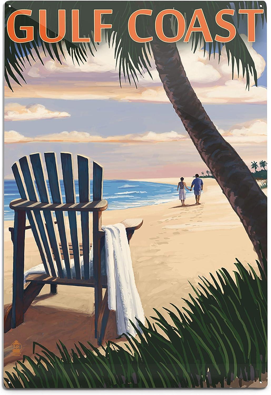 Selling Lantern Press Gulf Coast Adirondack Sunset Popularity Al 12x18 and Chairs