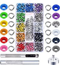 Grommet Kit,MEZOOM 480 Sets 3/16 Inch Multi-Color Grommet Setting Tool Metal Eyelets Kit with Transparent Storage Box for Bag Shoe Clothes Leather Crafts DIY Projects(12 Colors)
