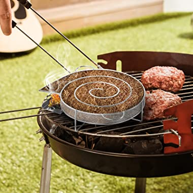 """apwang Cold Smoke Generator, 8"""" Pellet Smoker Tray for Any BBQ Grill, for Smoking Cheese, Fish, Salmon, Pork and More, 4-"""