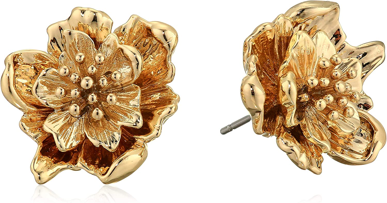 French Connection 3D Flower Stud Earrings, Gold, One Size: Jewelry