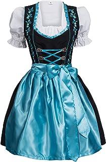 Mufimex Damen Dirndl Kleid Dirndlkleid Trachtenkleid Midi schwarz Hakenverschluß