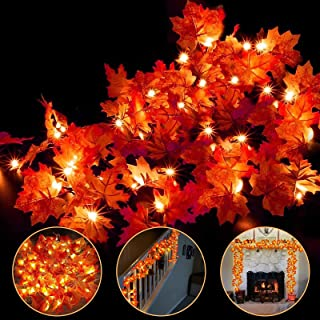 4 Pack Thanksgiving Fall Decorations Leaf Garland String Lights for Indoor Outdoor 10 ft 20 LED Maple Leaves Light 3 AA Ba...