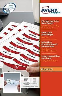 AVERY - Pochette de 100 inserts imprimables pour badges, En carte blanche 200g/m², Format 85 x 54 mm, Impression laser / j...