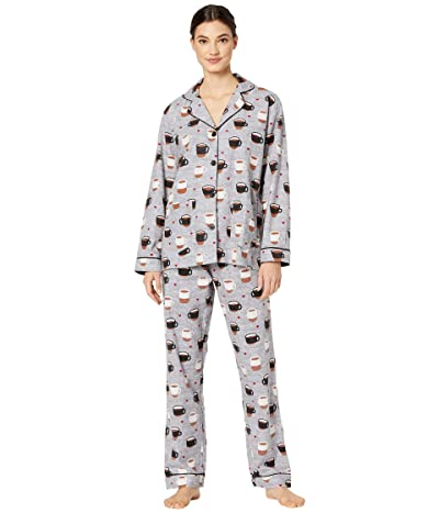 P.J. Salvage Flannel Coffee PJ Set (Heather Grey) Women