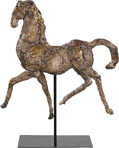 "high quality Uttermost Caballo wholesale Dorado 16 1/2"" W online Aged Silver w/Gold Horse Sculpture online sale"