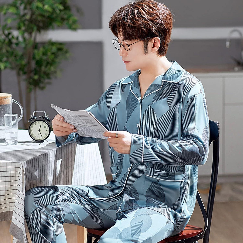 ML S HJDY Mens Silk Satin Pyjamas Set Long Sleeve Sleepwear Pajama Autumn Spring Homewear,Blue,XL
