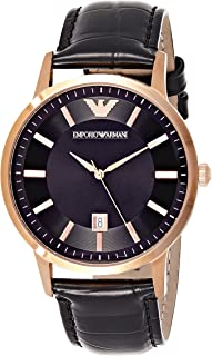 Emporio Armani Mens Quartz Watch, Analog Display and Leather Strap AR2425