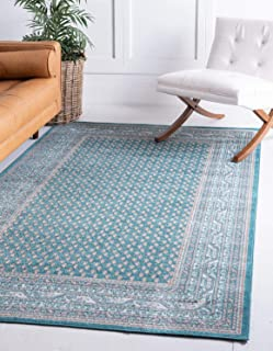 Unique Loom Williamsburg Collection Traditional Border Teal Area Rug (4' 0 x 6' 0)