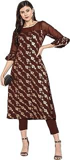 Janasya Women's Brown Crepe Kurta With Pant