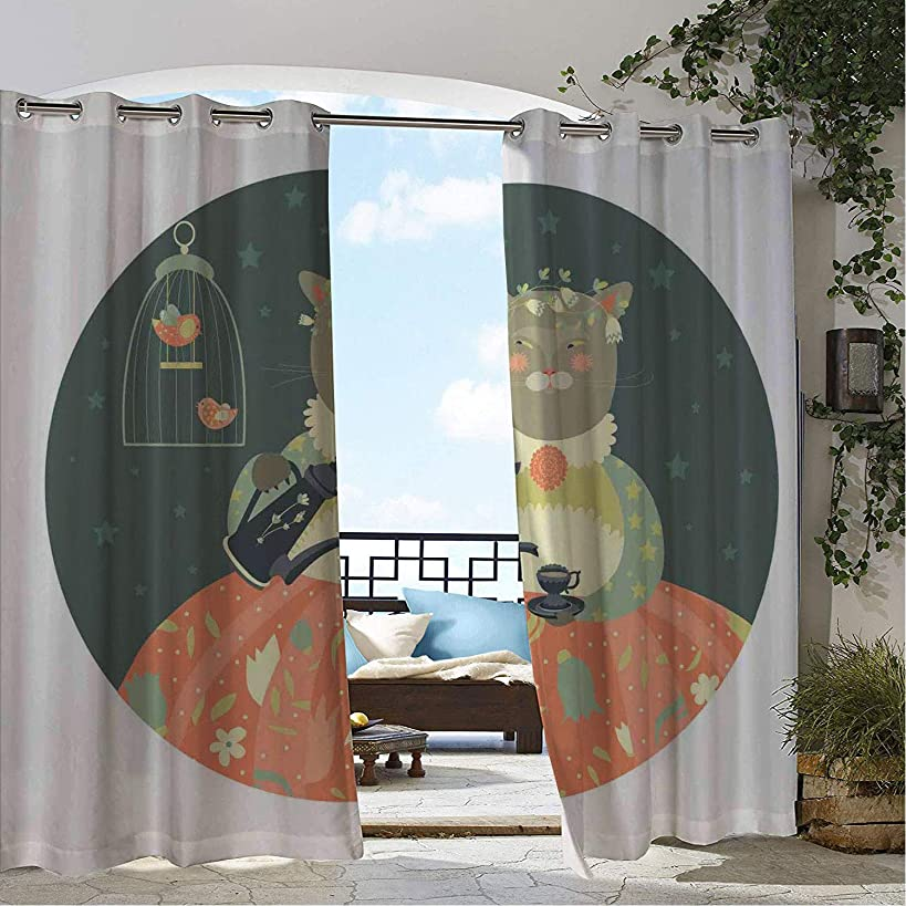 Linhomedecor Outdoor Waterproof Curtain Birdcage Fantasy Cat Tea and Birds in a Cage Funny Design on Star Filled Background Multicolor pergola Grommet Free Curtain 72 by 96 inch