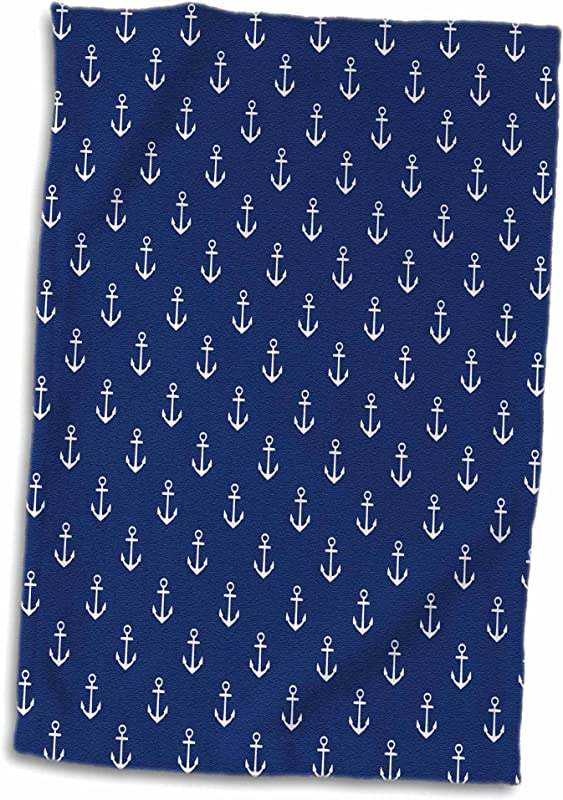 3D Rose TWL 251655 1 White Sailboat Anchors On Blue Background Towel 15 X 22