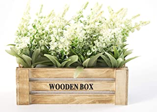 LODESTAR Artificial Fake Flowers in Wooden Pot Fake Floral Bouquet Indoor Outdoor Home Wedding Decoration - Ivory
