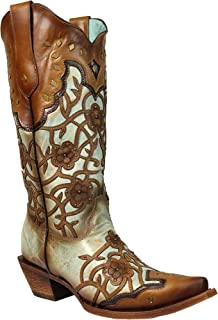 Corral Women's 13-inch Mint/Maple Flowers Overlay & Studs Snip Toe Cowboy Boots - Sizes 5-12 B
