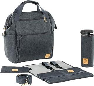 LÄSSIG 1103010222 Glam Goldie Backpack, Baby Luierrugzak/Luiertas, Inclusief Wikkelaccessoires, Antraciet, 30 x 16.99 x 3...