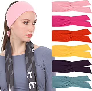 Sea Team 6-Pack Women's Adjustable Knotted Sport Headbands, Yoga Hairbands, Elastic Cotton Sweatbands for Running, Hiking,...