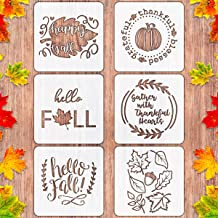 6 PCS Fall Thanksgiving Stencils for Painting on Wood Large Reusable Pumpkin Stencils for Farmhouse Home Decor