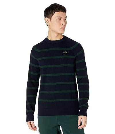 Lacoste Long Sleeve Striped Full Cardigan Rib Sweater (Abysm/Sinople) Men