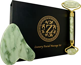 Jade Roller and Gua Sha Set - Luxury Facial Massage Set by Zamlinco - Natural Jade Stone Massager Anti Aging Skin Care Tools for Face, Eyes, Neck and Body | Reduce Fine Lines and Wrinkles Naturally