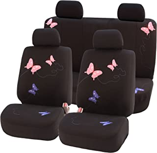 FH Group FB055114 Black Butterfly Embroidery Car Seat Cover (Full Set)