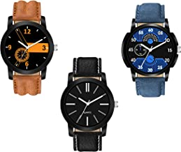 Watch City Men's Analog Classy Unique Dial and Stylish Belt Club Combo Pack of 3 Watches