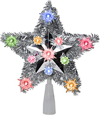 """Northlight 9"""" Silver Tinsel Star Multi Lighted Christmas Tree Toppers"""