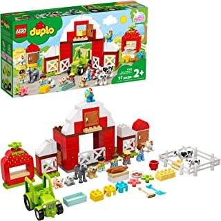 LEGO DUPLO Town Barn, Tractor & Farm Animal Care 10952 Playset with People Figures and Cute Pony, Pig, Dog, Sheep, Cow, Ca...