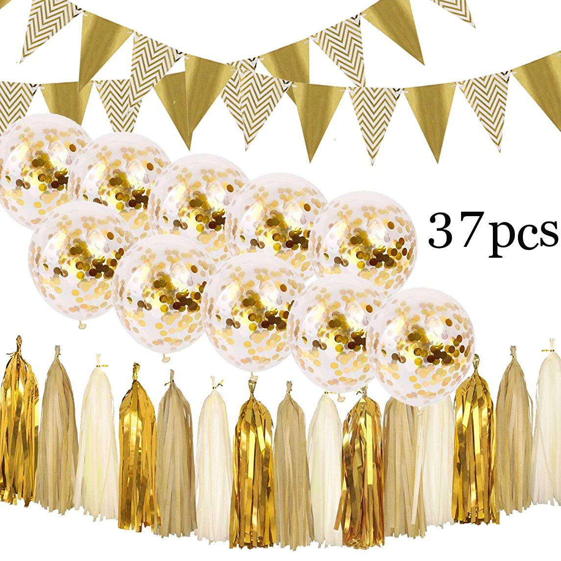 Gold Party Decorations - Glitter Banner/Garland Triangle Flags/Bunting/Pennant, Tissue Paper Tassels, Gold Confetti Balloons for Christmas, New Year, Baby Shower, Birthday decor, Wedding Supplies
