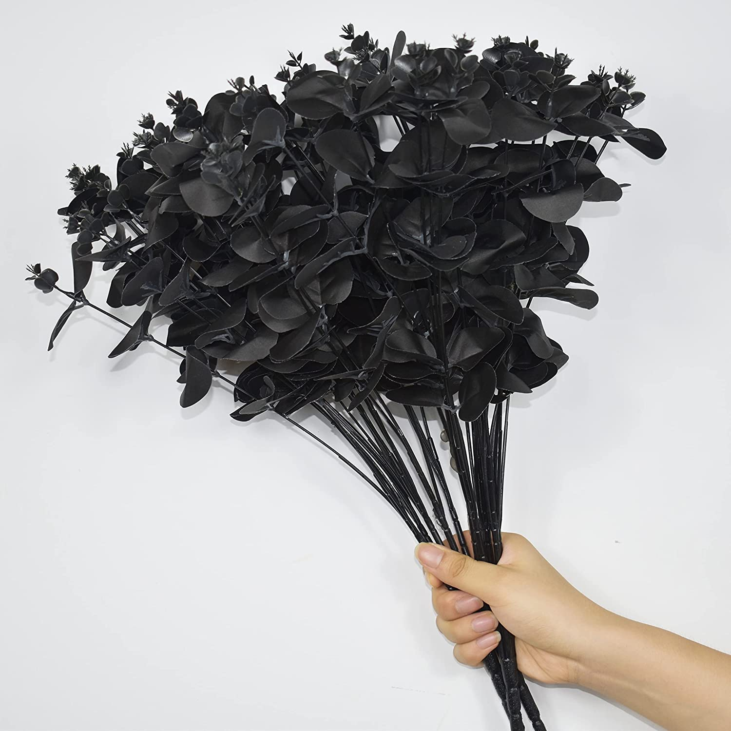 Plobach 3pcs Black Artificial Eucalyptus Leaves, Faux Silk Eucalyptus Stems Bouquet Fake Greenery Plants with Total 16 Stems Arrangement for Home Party Halloween and Wedding Home Decor