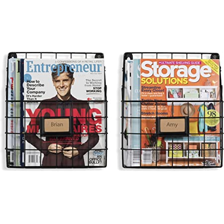 WALL35 Rivista Rustic Country Style Wire Wall Mount Hanging File Folder Display Mail Organizer Document Storage Magazine Rack Set of 2 (Black)