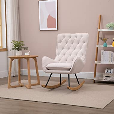 HOMCOM Mid-Century Fabric Rocking Chair Sofa Armchair Tufted Rocker Wingback Accent Chair with Padded Seat, Rubber Wood Base