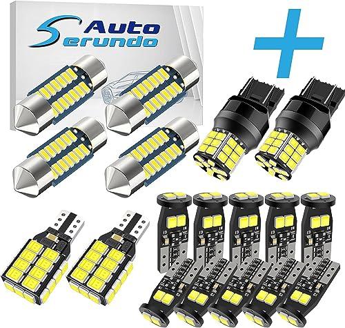 2021 Serundo Auto 4pcs 578 Led Bulb+ 10pcs 194 LED Bulbs+2pcs online sale 921 wholesale BackupLight+2pcs 7443 LED Bulbs… outlet online sale