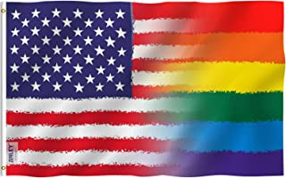 Anley Fly Breeze 3x5 Feet Wavery Stripes LGBT Pride US Flag - Vivid Color and UV Fade Resistant - Canvas Header and Double Stitched - Graphic Rainbow USA Flag Polyester with Brass Grommets 3 X 5 Ft