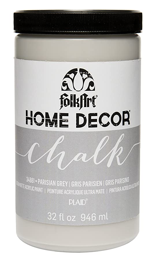 FolkArt 34881 Home Decor Chalk Furniture & Craft Paint in Assorted Colors, 32 ounce, Parisian Grey