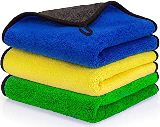 Car Drying Towel, CRAZYDEALS+ 3Pack Multipurpose Microfiber Cleaning Cloth, Microfiber Cleaning Towel for Car Washing, Sup...
